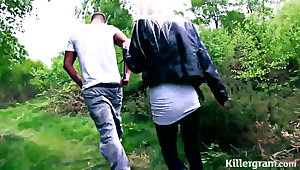 Blonde Milf slut fucked in woods