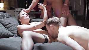 Wife gets shared by horny individuals in rough threesome