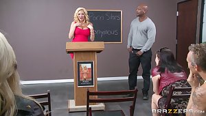 Interracial meeting sexual connection with big white woman Summer Brielle and a BBC