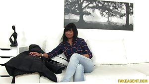 Fucking during a job interview with a cougar amateur brunette