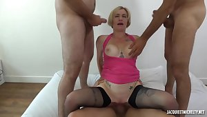 Short haired, French blonde, Clarisse is satisfying twosome guys at the same time, in her bedroom