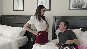 Unearth hungry MILF stepmom helps a young man out and fucks him good