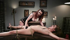 Lezdom session takes a odd twist be advisable for Domme Cherry Ravelled and Zoe Sparx
