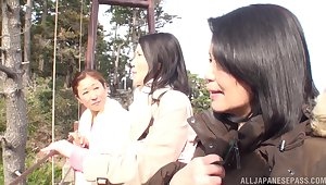 Lesbo amateurs from Japan enjoy having sex here the Mincing go to the little boys'
