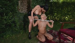 Astonishing outdoor Lezdom session with titillating Terra and Lucy Li