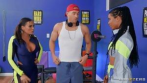Fitness fanatics Luna Star and Kira Noir share a young guy's dick