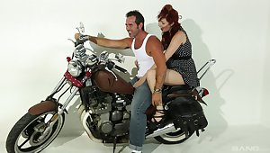 Man fucks redhead mature after letting her throttle a little