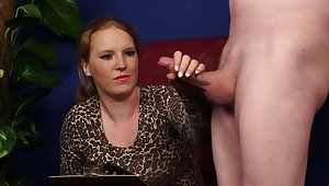Clothed amateur woman gets her hands on a pretty stiff dick