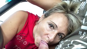 Vilifying granny gives a blowjob plus gets fucked from behind. HD