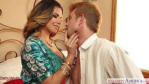 Fabulous curvaceous MILF Danica Dillan works on long cock with dedication