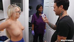 FFM interracial threesome with nurses Barbie Crystal & Ava Sinclaire