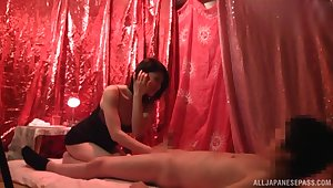 Lucky scrounger gets his dick pleasured by a Japanese professional escort