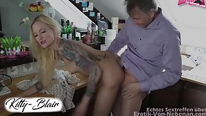 Blonde In A Sexy Condensed Dress Seduces Her Neighbor At hand Be crazy Against A Few
